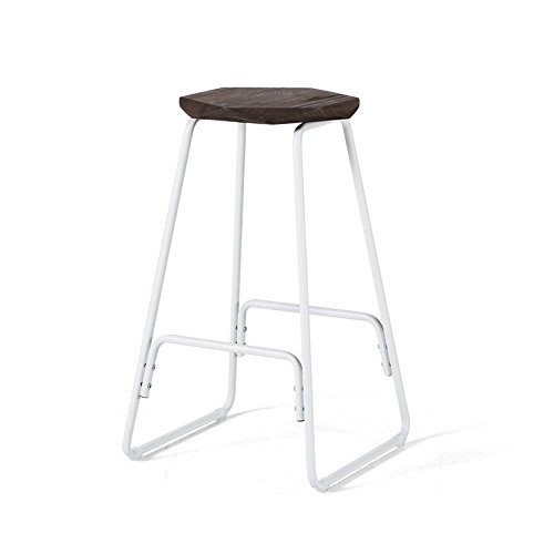 4  YXQ Retro Bar Stool High Stool Solid Wood Wrought Iron Fixed Height 66.5CM Bar Stool (color   4 )