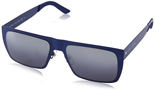 Marc Jacobs Men's Marc55s Rectangular Sunglasses, Matte Blue/Gray Silver Sp Deg, 55 - Lv Case Sunglasses