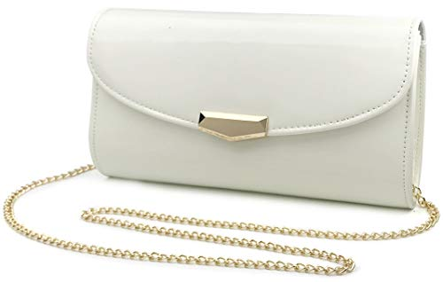 White Patent Bag - Women Glossy Evening Clutch Faux Patent Leather Chain Shoulder Bag Large Capacity Purse (White)
