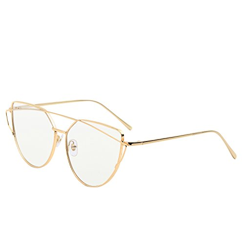 YANQIUYU New Fashion Cute Fake Cat Eye Clear Lens Glasses Non Prescription Eyeglass Frames for Women (Clear Lens/Gold Frame, - New Glasses Best Frames