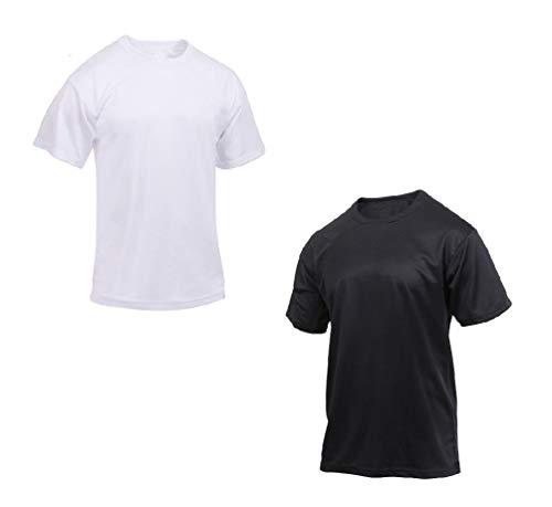 hersrfv clothing 1pc Mens Moisture Wicking T-Shirt Black White Quick Dry Polyester Gym Pt Tee Shirt