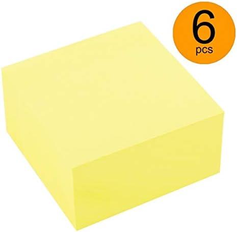 D.RECT 009326 Haftnotizwürfel Super Sticky Notes Selbstklebende Haftnotizzettel in 76x76mm 400 Blatt Gelb x 6 Stück
