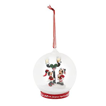 Mickey And Minnie Light Up Glass Christmas Decoration Ornament