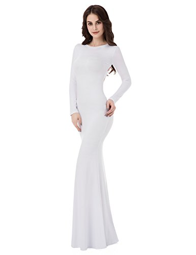 Sarahbridal Women's Mermiad Prom Dresses Long Open Back Evening Party Gowns White Size S (Gown Back Evening)