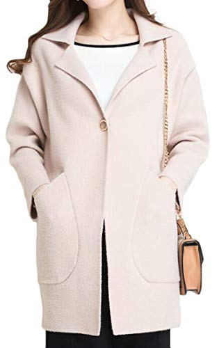 Lutratocro Womens Warm Lapel Plus Size Stretch Winter Business Outwear Peacoats Beige One Size by Lutratocro