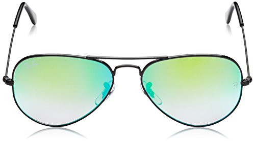Ray-Ban 3025 Aviator Large Metal Mirrored Non-Polarized Sunglasses, Shiny Black/Mirror Gradient Green (002/4J), 55mm