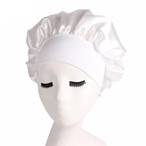 Kimloog Satin Night Sleeping Cap Full Coverage Salon Bonnet Long Hair Loss Head Cover Beanie (White)