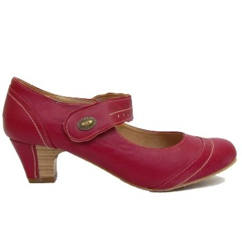 Ladies Red Leather Lined Shoes Cuban Heel Wide Fit Slip On Shoes ...