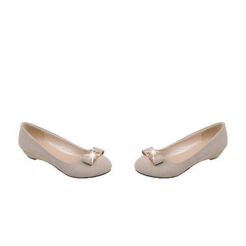 AgooLar Damen Niedriger Absatz Mattglasbirne Ziehen auf Rund Zehe Pumps Schuhe Aprikosen Farbe