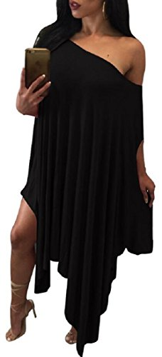 Women's Oblique Shoulder Batwing Sleeve Irregular Loose Poncho Dress Tunics Top Black L