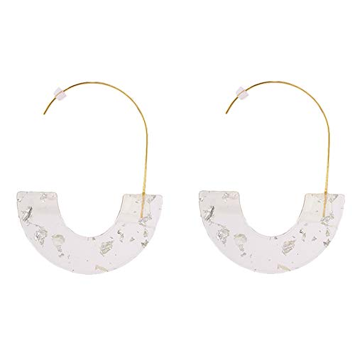 - Vintage Acetate Board Acrylic Geometric Semicircle Sequins Transparent Earrings Ladies Jewelry Gifts (Silver)