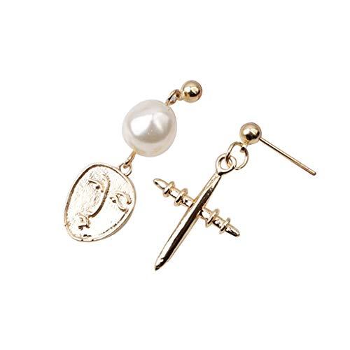 (Shiretel Network Red Metal Irregular Shaped Beads Geometric Creative Earrings Ladies)