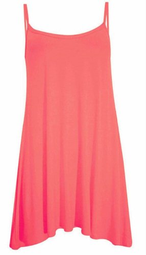 New Womens Plus Size Cami Strappy Sleevless Long Swing Top Mini Dress 8-22 ( Coral, 1X )