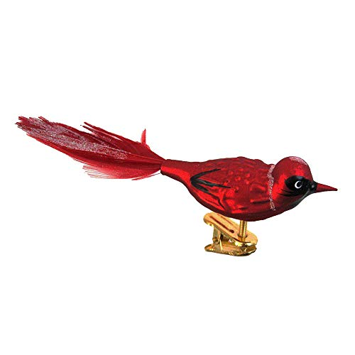 Kurt Adler 5-Piece Glass Red Clip-On Bird Ornament Set