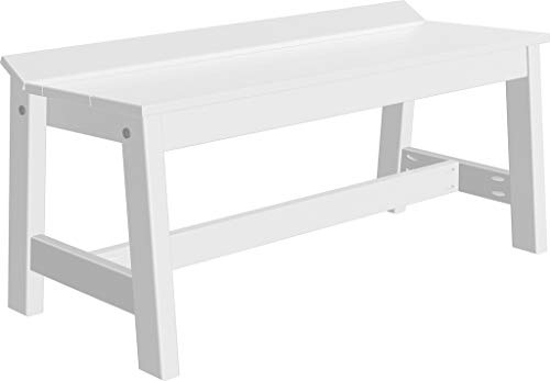 (Furniture Barn USA Outdoor Café Dining Bench - 41 inch - White Poly Lumber - Recycled Plastic)