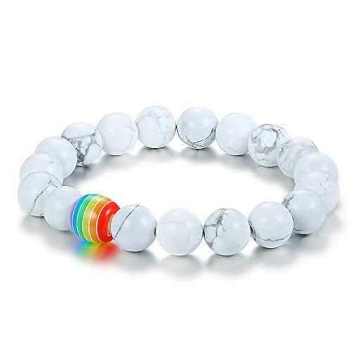 (Esther Unisex Gay Pride Bracelets Agate Beads Bracelet LGBT Bracelet for Couples Rainbow Bracelets Pride White)