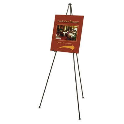 Heavy-Duty Adjustable Instant Easel Stand, 15'' to 63'' High, Steel, Black, Sold as 1 Each