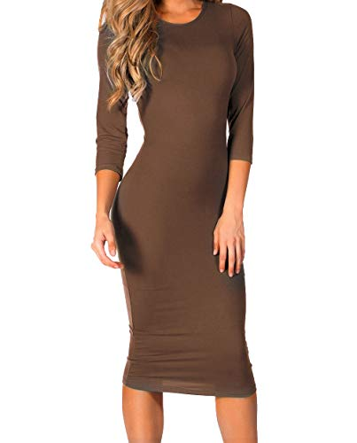 ICONOFLASH Women's Mocha 3/4 Sleeve Bodycon Midi Dress - Crew Neck Fitted Dress Size Large