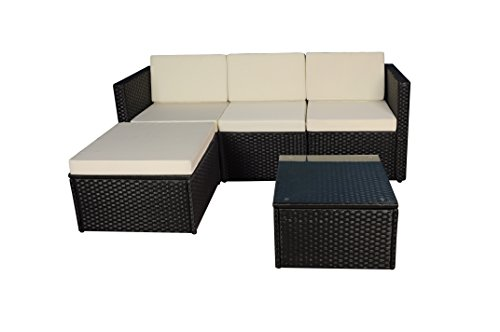 (Modern Outdoor Garden, Sectional Sofa Set with Coffee Table - Wicker Sofa Furniture Set (Black/Ivory))