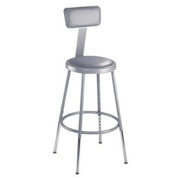 Adj Stool - National Public Seating 31-39 Inch Gray Frame Stool Adj Height Padded Seat W/ Adj Backrest In Gray [Set Of 2]