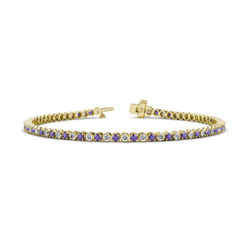 - TriJewels Iolite and Diamond 2.3mm (SI2-I1, G-H) Tennis Bracelet 1.85 cttw in 14K Yellow Gold