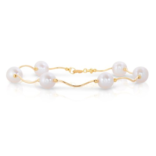 Art and Molly 14k Gold Round White Freshwater Cultured Pearl Station Bracelet in Polished Twisted Style Tubes (Yellow-Gold)