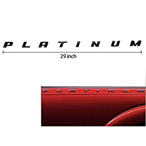 3D Platinum 29inch Side Badge Nameplate Replacement Decal Sticker for F150 F250 F350 Matt Black 2pcs Platinum Emblem
