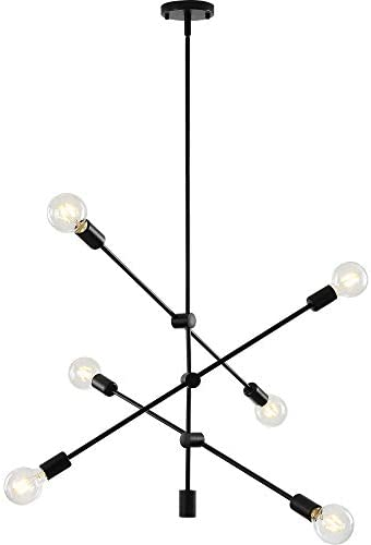 Sputnik Light Fixture Mobile Chandelier 6 Lights Modern Pendant Lighting Black Finish Contemporary Semi Flush Mount Ceiling Light Fixtures