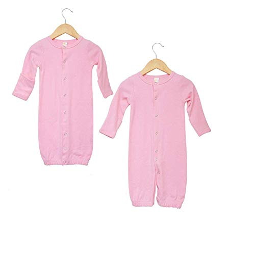 Laughing Giraffe Baby Long Sleeve Convertible Gown with Fold-Over Mittens (0-6 Months, Pink)