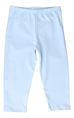 CAOMP Girl's Capri Crop Leggings, Organic Cotton Spandex, School or Play Light Blue 3 / 4
