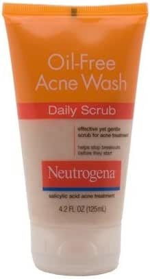 Neutrogena Oil Free Acne Face Scrub with Salicylic Acid Acne Treatment Medicine, Daily Face Wash to Prevent Breakouts, Oil Free Exfoliating Acne Cleanser with Salicylic Acid, 4.2 fl. oz