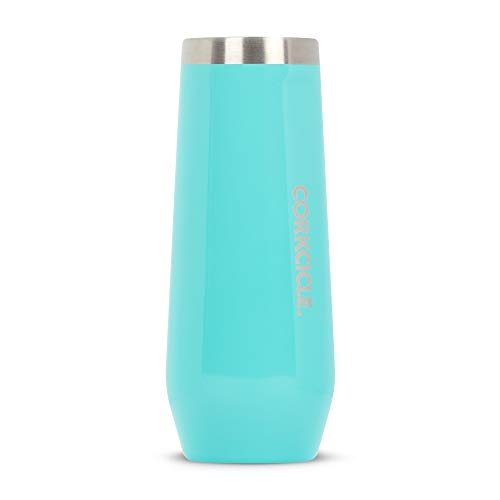 Corkcicle 7oz Stemless Flute - Sip Champagne in Style - Gloss Turquoise