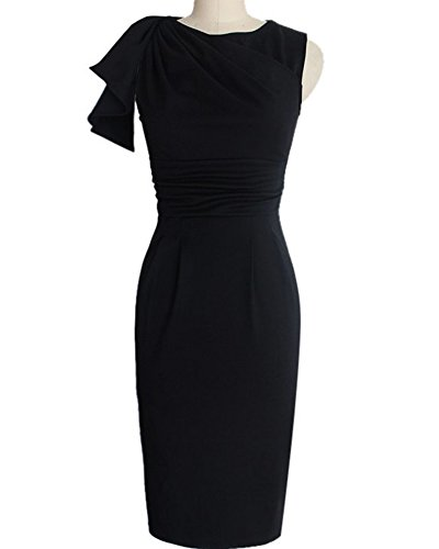 Mujeres Vestidos de Mangas Flounced Lápiz Vestido Para Fiesta Bodas Cóctel Negro