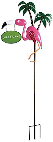 Sunset Vista Designs MF100 Pink Flamingo and Palm Trees Garden Stake, Metal, Welcome
