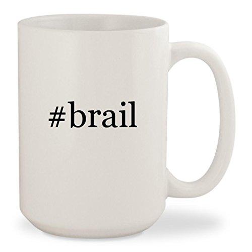 Tag Display Labeler - #brail - White Hashtag 15oz Ceramic Coffee Mug Cup