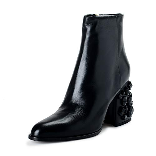 Marni Women's Black Leather Beaded Heeled Ankle Boots Shoes Sz US