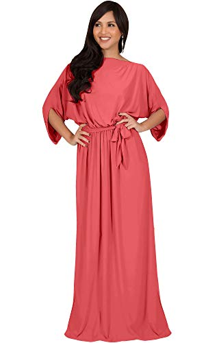 KOH KOH Womens Long Flowy Casual Short Half Sleeve with Sleeves Fall Winter Floor Length Evening Modest A-line Formal Maternity Gown Gowns Maxi Dress Dresses, Watermelon Pink L 12-14 (Pale Pink Mother Of The Bride Outfits)
