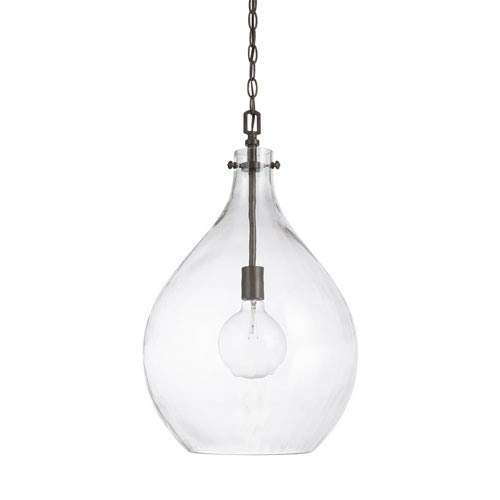 Capital Lighting 325012FH Somerset - One Light Pendant, Grey Farm Finish with Clear Organic Glass