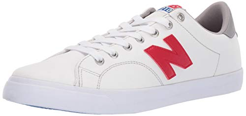 new balance Men's 210v1 Skate Sneaker, White/red, 7.5 D US