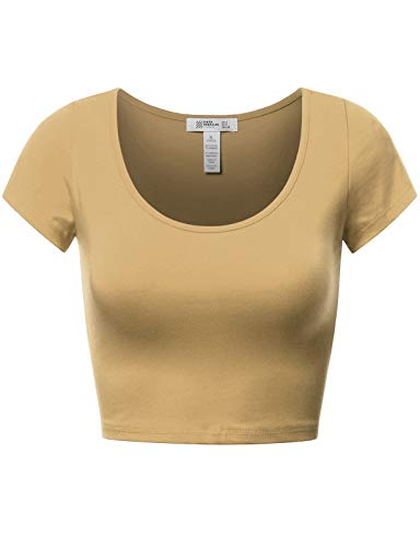- Basic Short Sleeve Crop Top Khaki L