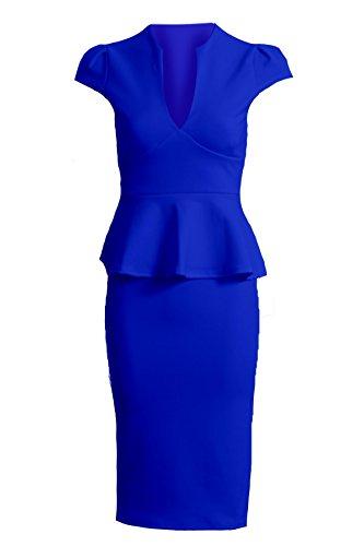 Fantasia - Robe Femme Peplum Mancheron Col V Jupe Genou Neuf - 38, Bleu roi