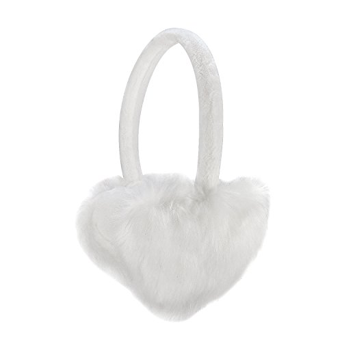 Sudawave Women Girls Winter Warm Ultra Soft Faux Fur Plush Earmuffs Ear Warmer Foldable (White Heart Shaped) (Plush Muffs Warm Ear)
