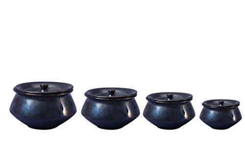 Caffeine Ceramic/Stoneware Serving Haandi Casserole  Black    Set of 4