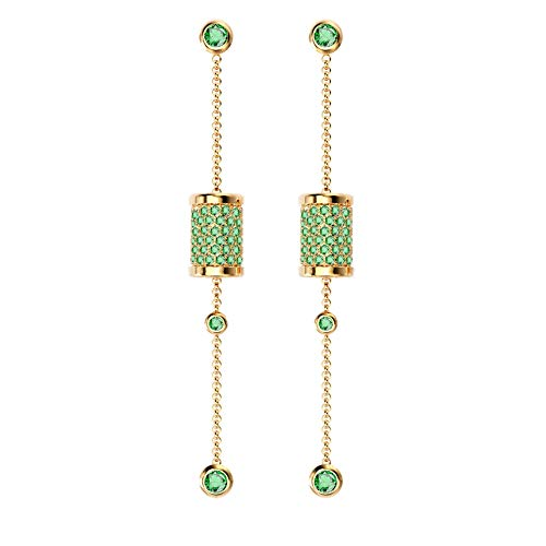 Spindle Drop Dangle Earrings for Women SKA Jewelry Sleeping Beauty Green Cubic Zirconia Long Chain Stud Earrings Yellow Gold Plated