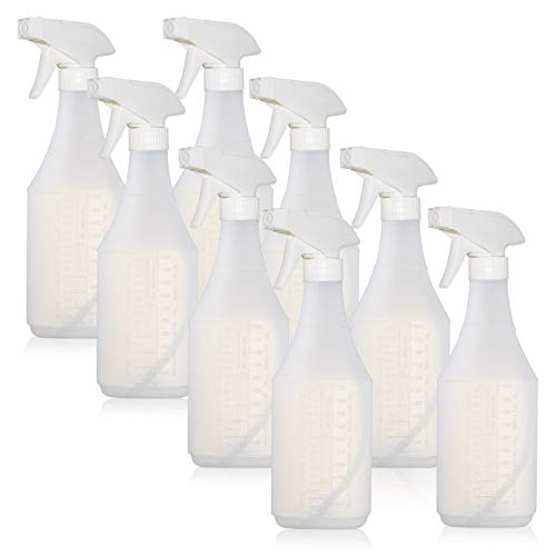 ChefLand Empty Professional Plastic Spray Bottles 24 oz New Improved 100% Leak Proof Refillable Sprayer for Multi-Purpose Use, Pack of 8, Durable Trigger with Mist & Stream & Off Modes