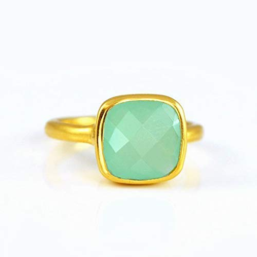 Aqua Chalcedony ring, stackable ring, Vermeil Gold or silver, bezel set ring, cushion ring, aqua gemstone ring, March Birthstone ring, Seafoam chalcedony ring, square ring