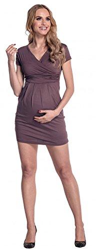 Happy Mama Maternity. Vestido premamá manga corta cuello V. 806p Cappuccino