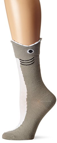 K. Bell Women's Wide Mouth Animal Novelty Crew Sock, Shark, 9-11
