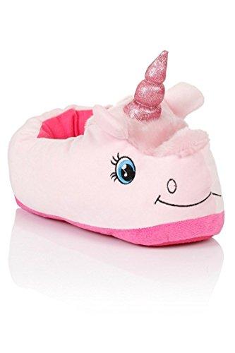 Plüsch Hausschuhe Plüsch Pantoffeln Einhorn - Einheitsgröße für Erwachsene - Très Chic Mailanda Pink