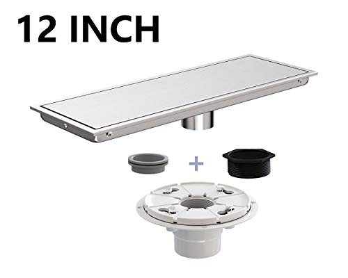(Ushower 12 Inch Linear Drain for Shower with Drain Base Flange 2 Inch Outlet, Tile Insert Linear Floor Drain Brushed Nickel with Threaded Adapter, Rubber Coupler, Hair Strainer for Bathroom Kitchen)